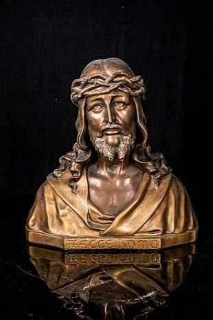 Polychrome plaster bust of Christ