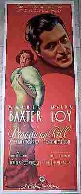 Broadway Bill - Baxter and Loy (1936) US Insert Movie