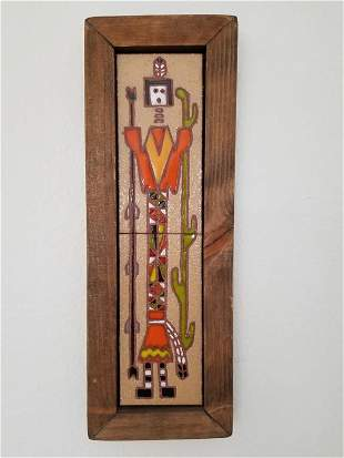 Navajo Saguaro Spirit Dancer Ceramic Tile Wall  Art