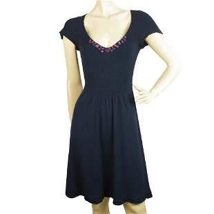 Rebecca Taylor Blue Knit Beaded Short Cardigan Bolero