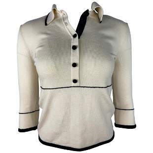 Christian Dior White and Black Sweater Top, Size Large