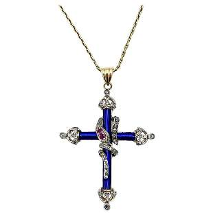 Victorian Rose Cut Diamonds, Ruby and Blue Enamel Cross