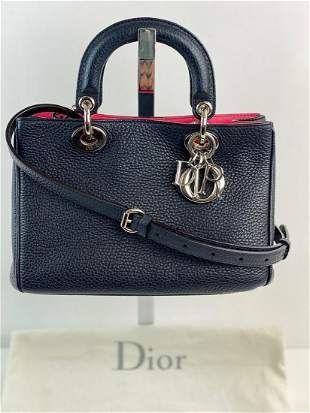 CHRISTIAN DIOR Small Leather Diorissimo Navy Crossbody