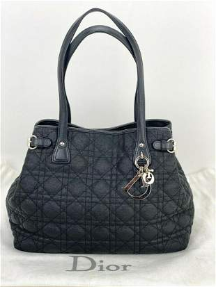 Christian Dior Cannage black coated canvas small