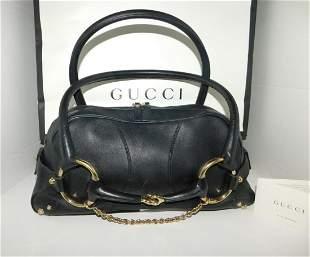 Gucci Black Leather Horsebit Chain Satchel Hand Bag