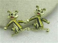 """Vintage Pair Enameled Chipmunk Brooches, 1960's, 1.25"""""""
