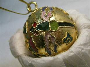 """Cloisonne Champleve Dragonfly Ball Pendant -1.5"""","""