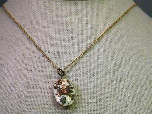 """Vintage Gold Tone Oval Cloisonne Rose Pendant with 18"""""""