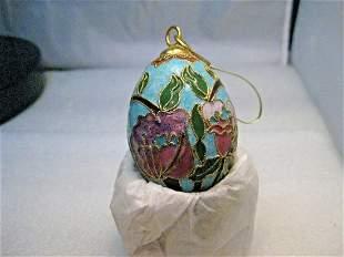 Cloisonne Champleve Orchid Floral Egg Ornament -