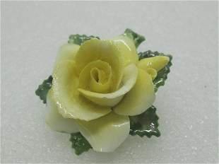 Vintage Crown Porcelain Yellow Rose Brooch,