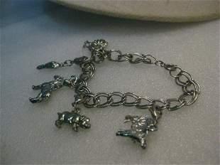 "Vintage Silver Tone Barnyard Charm Bracelet, 7"", Cow,"