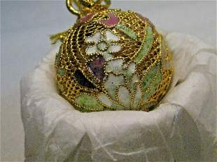 Cloisonne Filigree Tulip Floral Ball Pendant