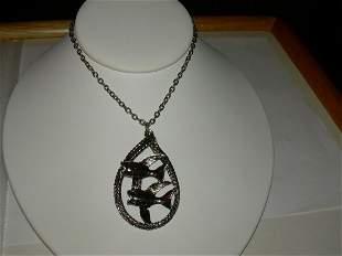 """Vintage Silver Tone Fish Necklace- 24"""""""