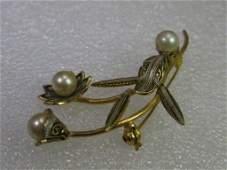 Damascene Floral Brooch, Faux Pearls, Flowers & Stems,