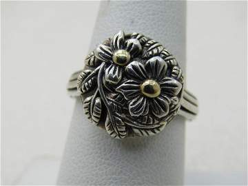 Sterling & 14kt Floral Ring, Sz. 8, Stephen Dweck
