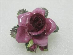 Vintage Crown Porcelain Rose Brooch, Painted,