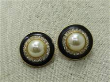 Vintage Enameled Pearl Rhinestone Earrings, signed