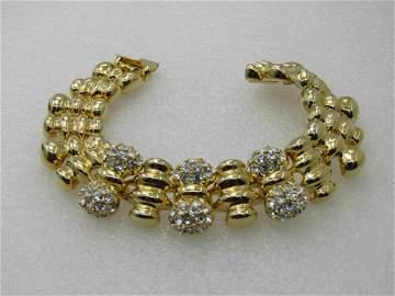 Vintage Joan Rivers Rhinestone Ridged Link Bracelet,