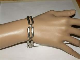 Vintage Silver Tone Connected Hinged Bracelet Signed