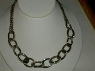 Alfani Large Link Necklace, Vintage Silver Tone Oval