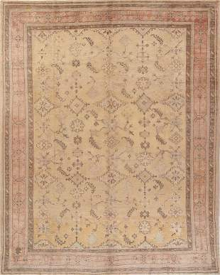 Pre-1900 Antique All-Over Geometric Muted Color Oushak