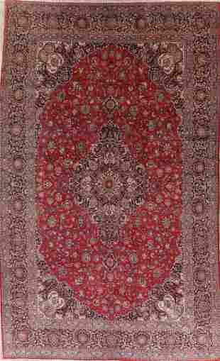 Antique Floral Red Kashan Dabir Persian Wool Rug 11x17