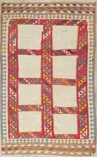 Antique Geometric Kilim Qashqai Persian Hand-Woven 4x6