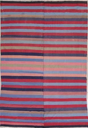 Antique Stripe Kilim Persian Hand-Woven 7x11 Wool Area