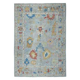 Gray Angora Oushak Pure Wool Hand Knotted Oriental Rug