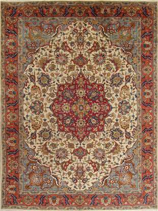 Antique Vegetable Dye Tabriz Persian Hand-Knotted Area