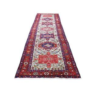 Vintage Persian Karajeh Pure Wool Hand-Knotted Runner