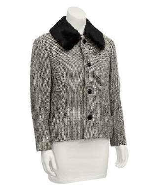 Jacques Griffe Black Tweed Jacket with Fur Collar