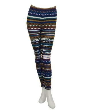 Missoni Blue and Olive Knit Striped Legging