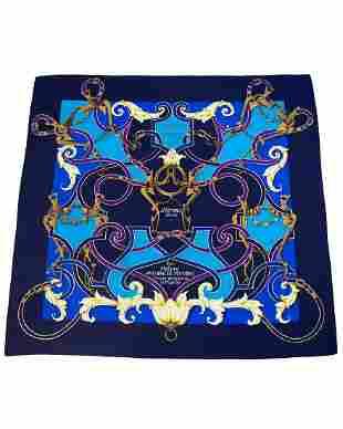 """Hermes Blue Silk """"L'Intsruction Du Roy"""" Scarf"""