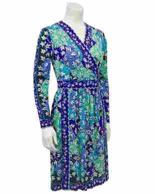 Emilio Pucci Blue Tones Silk & Cashmere Knit Dress