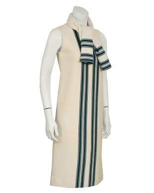 Anonymous Cream and Green Dress with Matching Scarf