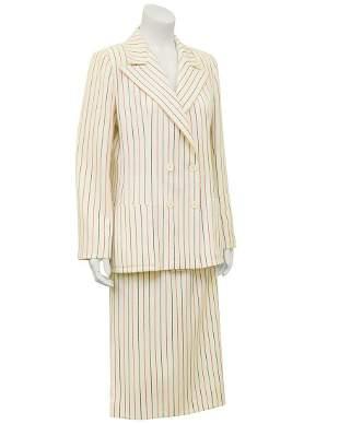 Scherrer Cream Pin Stripe Wool Suit