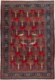 Traditional Ostrich Persian Tabriz Carpet