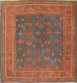 Antique Teal Blue Oushak Turkish Oriental Square Rug