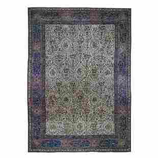 Antique Persian Kerman with Poetry and Animals Oversize