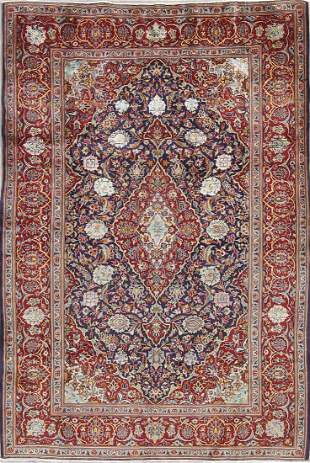 Vegetable Dye Floral Blue Kashan Persian Hand-Knotted