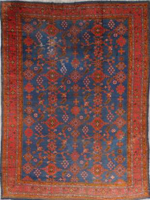 Antique Vegetable Dye Oushak Turkish Hand-Knotted Area