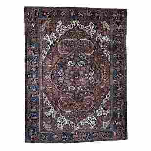 Hand-Knotted Vintage Persian Heriz Even Wear Clean