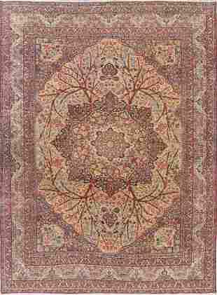 Pre-1900 Antique Floral Kerman Ravar Persian