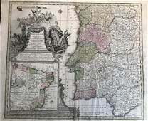 Portugal with inset of Brazil. c1730-40. By Seutter