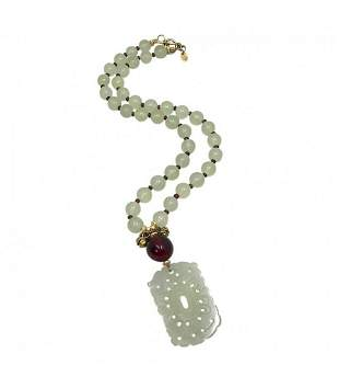 Chalcedony Necklace with Jade Pendant