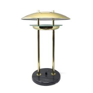 1980s Flying Saucer Table Lamp with Marble Base