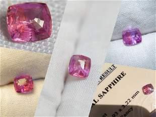 Vivid Pink Sapphire, unheated, fine cut, 0.978 ct