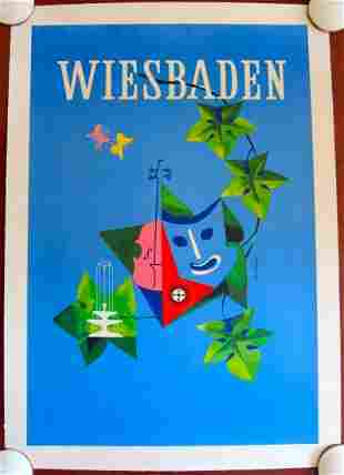 WIESBADEN - ORIGINAL 1950'S TRAVEL LB POSTER -