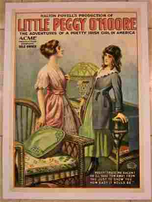 cut $250! LITTLE PEGGY O'MOORE 1910 LB THEATRE POSTER-